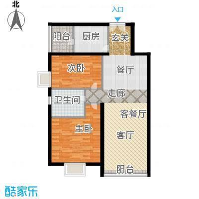 运河明珠家园90.00㎡1号7号楼A户型2室2厅1卫户型