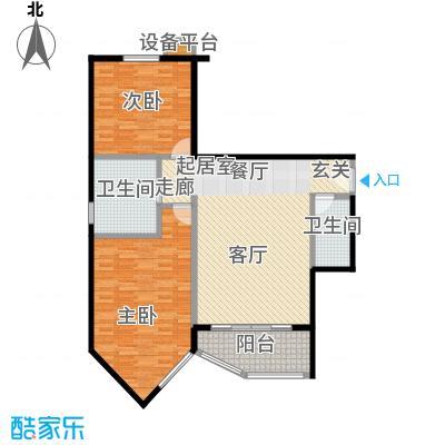 珠江绿洲101.18㎡N2户型两室两厅一卫户型