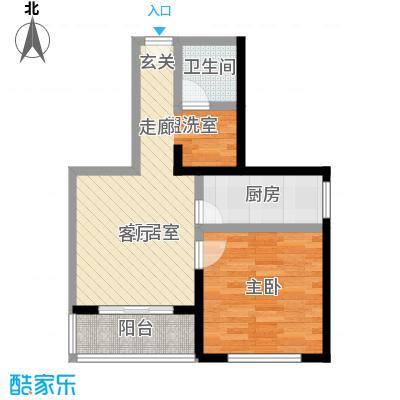 晋元庄小区50.00㎡一室一厅一卫户型