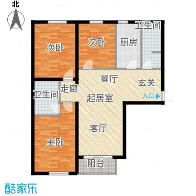 当代采育满庭春MOMAG户型三室两厅一厨两卫115平米户型3室2厅2卫