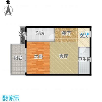 天创公馆B-2户型一室一厅一卫户型