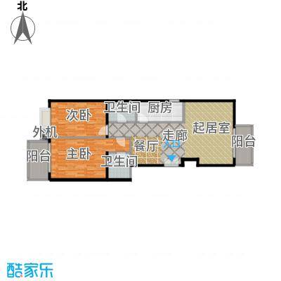 天创公馆117.65㎡A-5b户型二室二厅二卫户型