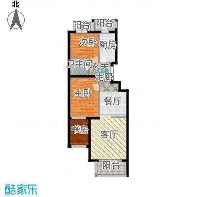 香湾(晶城秀府)E1户型六层三室二厅一卫(二期)户型