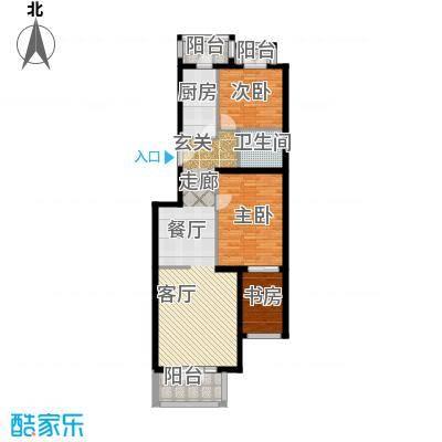 香湾(晶城秀府)E1-1户型六层三室二厅一卫(二期)户型