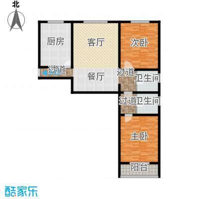 万事吉公寓127.27㎡2室1厅1卫1厨户型