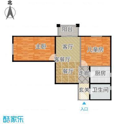 永翌公馆93.27㎡12楼F1户型2室1厅1卫1厨