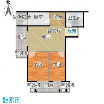永翌公馆90.38㎡12楼J1户型2室1厅1卫1厨