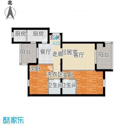 龙岳洲大厦107.25㎡二室二厅户型