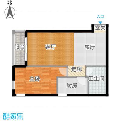 五栋大楼76.46㎡一室二厅一卫户型