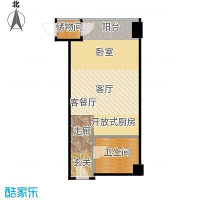 锐创国际中心52.10㎡E一居室户型1厅1卫
