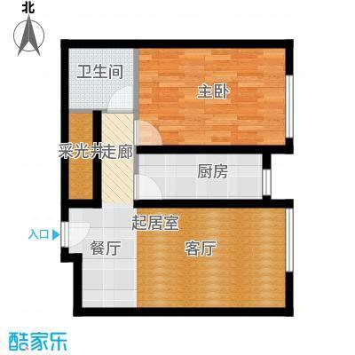 中海苏黎世家61.00㎡L户型1室1厅1卫