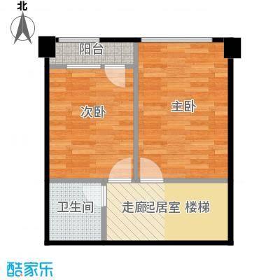 万科中粮紫苑45.36㎡G1北侧户型2室1卫