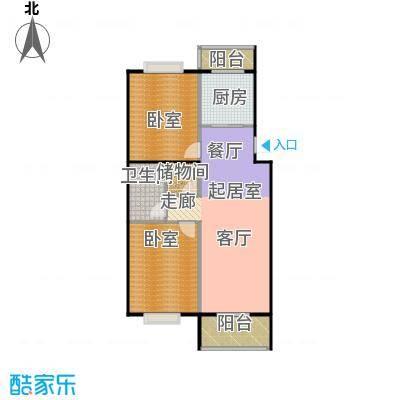 鑫融皓月家园3号楼A两室两厅一卫户型