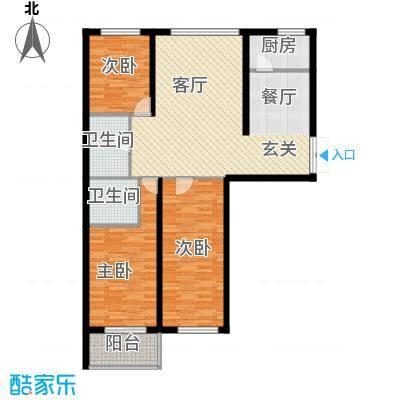 映天朗(五号公馆)124.18㎡F1户型三室二厅二卫户型