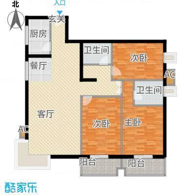 映天朗(五号公馆)137.41㎡E户型三室二厅二卫户型