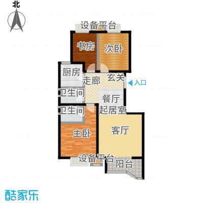 风景Club119.22㎡16号楼B户型三室二厅一厨二卫户型