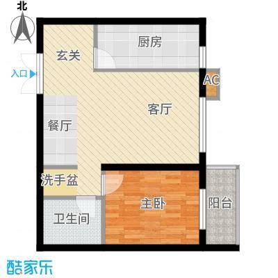 映天朗(五号公馆)65.80㎡D户型一室二厅一卫户型