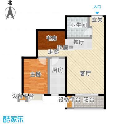 风景Club82.40㎡15号楼G-4户型一室二厅一厨一卫户型