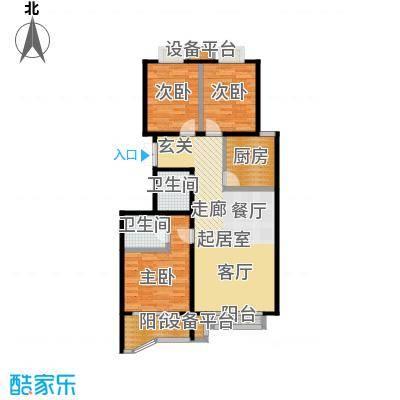 风景Club125.18㎡16号楼A-2户型三室二厅一厨二卫户型