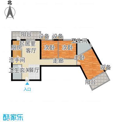 玉泉小区二期(秀蝶・双座)132.60㎡01、10户型-三室二厅二卫户型