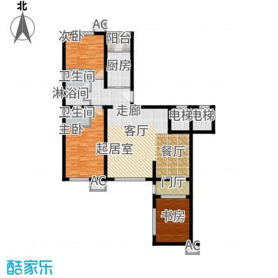 万科紫台152.53㎡F1户型三室二厅二卫户型