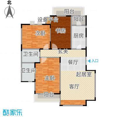 亿城天筑121.00㎡G4户型三室二厅二卫户型