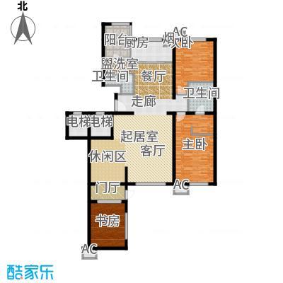 万科紫台184.92㎡F1户型三室三厅二卫户型