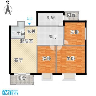 枫南世嘉(亚飞小区)110.54㎡三室两厅一卫户型