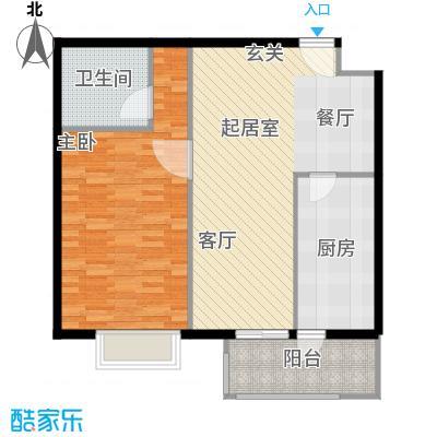 枫南世嘉(亚飞小区)80.69㎡一室两厅一卫户型