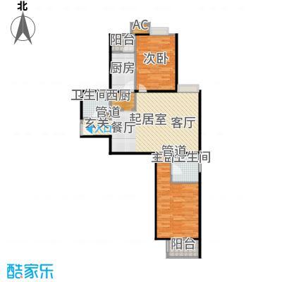 中景理想家89.47㎡3号楼A4户型二室二厅二卫户型