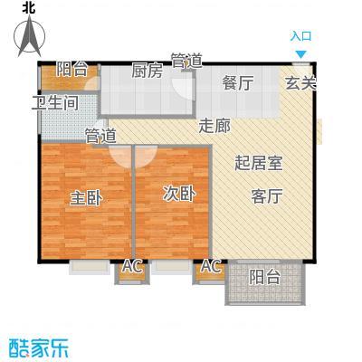 中景理想家89.83㎡3号楼A2户型二室二厅一卫户型