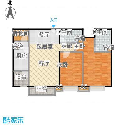 中景理想家90.36㎡3号楼B2户型二室二厅二卫户型