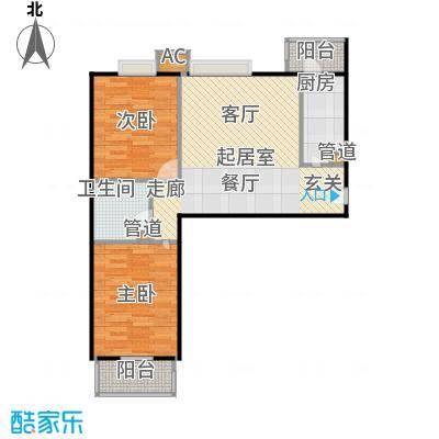中景理想家D4两室两厅一卫,建面85.84,套内70.13户型
