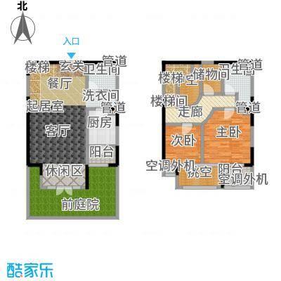 亿城天筑112.00㎡M1跃层户型二室二厅二卫户型