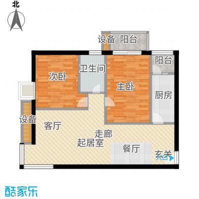 中景理想家82.71㎡3号楼A1户型二室二厅一卫户型