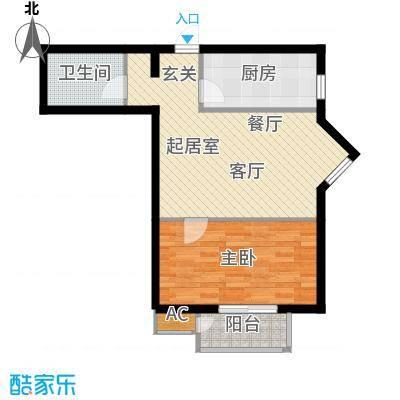 万润风景60.09㎡7号楼A1户型平面图1室1厅1卫户型