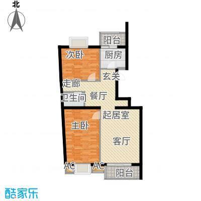 万润风景89.33㎡6号楼C2户型平面图2室2厅1卫户型