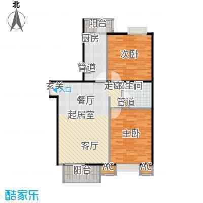 中景理想家88.02㎡C1两室两厅一卫户型