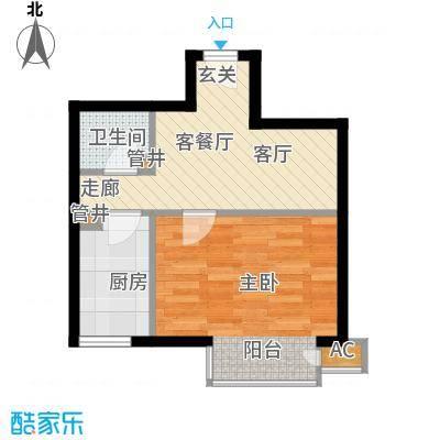 万润风景47.83㎡4号楼D11户型一室一厅一卫户型