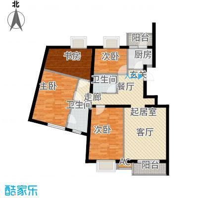 万润风景132.38㎡2号楼C1c户型四室二厅二卫户型