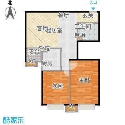 中景理想家D3两室两厅一卫,建筑面积79.21,套内面积64.71户型