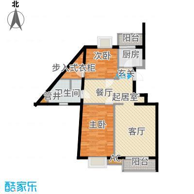 万润风景102.91㎡7号楼C1d户型二室二厅一卫户型