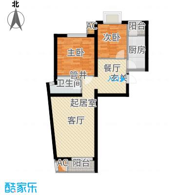 万润风景88.51㎡5号楼F3户型二室二厅一卫户型