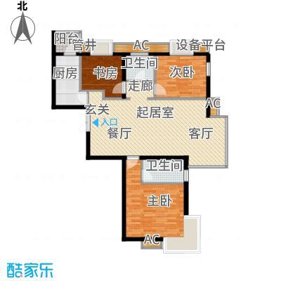 万润风景120.76㎡4号楼D3户型三室二厅二卫户型