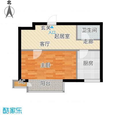 万润风景43.47㎡3号楼D12户型平面图1室1厅1卫户型