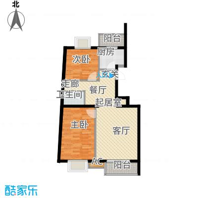 万润风景88.53㎡7号楼C1户型二室二厅一卫户型