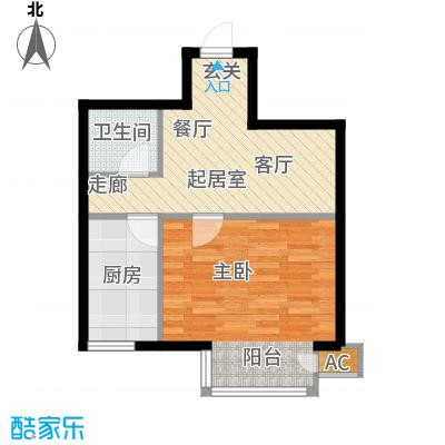 万润风景46.63㎡5号楼D1户型平面图1室1厅1卫户型
