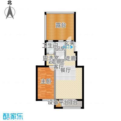 远洋自然79.94㎡8号楼TA2户型一室二厅一卫户型