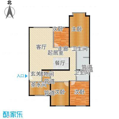 蓝筹名座124.14㎡3室1厅2卫1厨户型