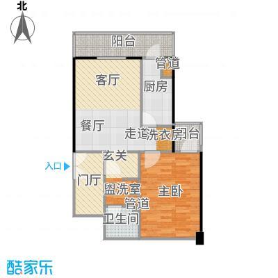 日坛晶华72.78㎡一室两厅一卫户型